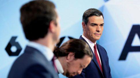 Pablo Casado, Pablo Iglesias y Pedro Sánchez en el debate de Atresmedia