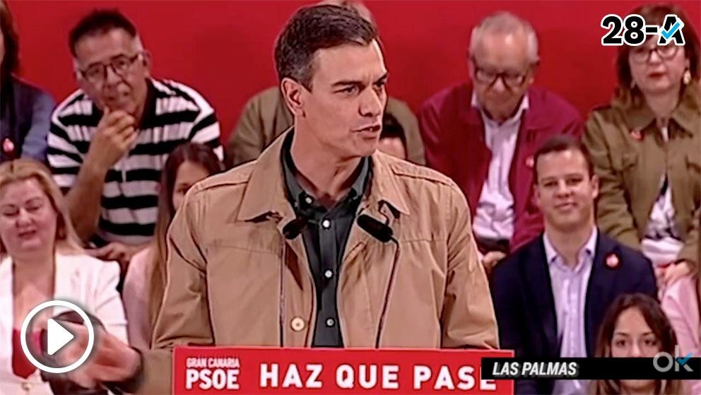 Sánchez en un mitin en Las Palmas