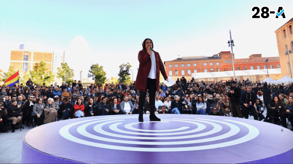 Ada Colau en un acto de Podemos en Barcelona. Foto. Twitter