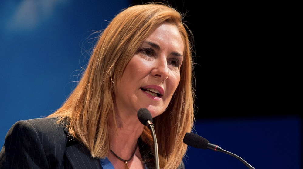 Ana Beltrán en un mitin en Arganzuela. (Foto. PP)