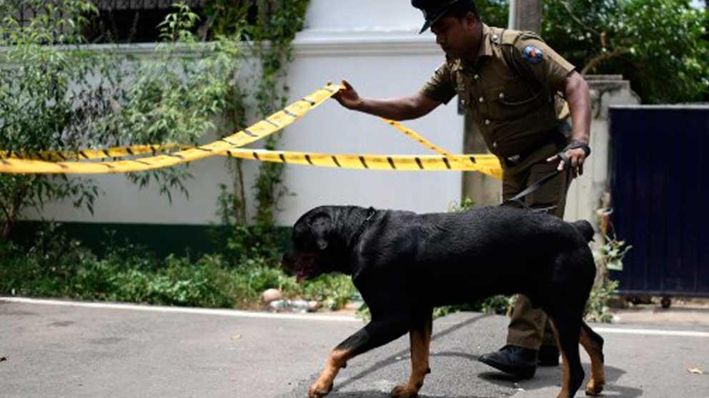 Un policía junto a un perro en la zona de uno de los atentados perpetrados el Domingo de Resurreción en Sri Lanka. Foto: AFP