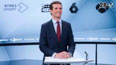 El líder del Pp, y candidato por el partido a la presidencia de España, en el debate celebrado en Atresmedia con el resto de candidatos mayoritarios.