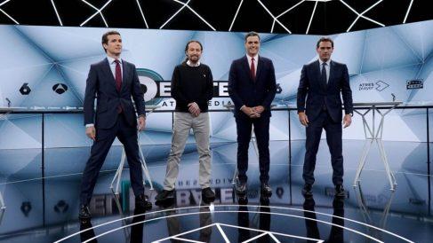 Los cuatro candidatos en el 'Debate decisivo' de Antena 3