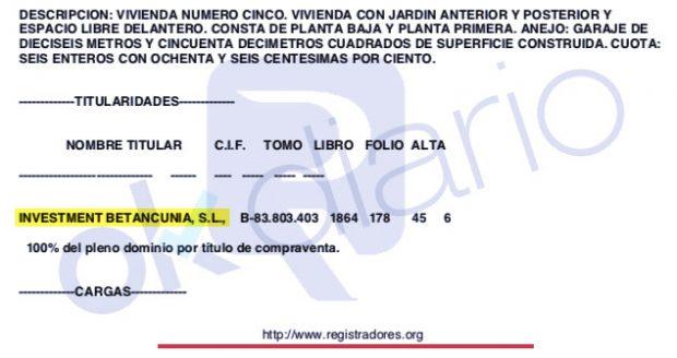 Nota simple del chalet en Huesca del presidente del TEAC, José Antonio Marco Sanjuán