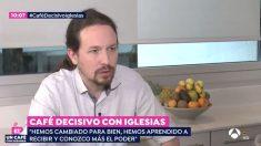 Pablo Iglesias durante su entrevista a 'Espejo Público'