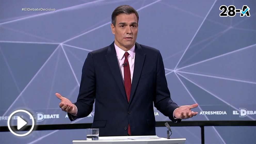 El jefe del Gobierno y candidato socialista al 28-A, Pedro Sánchez, en el debate de Atresmedia. (Imagen: Atresmedia)