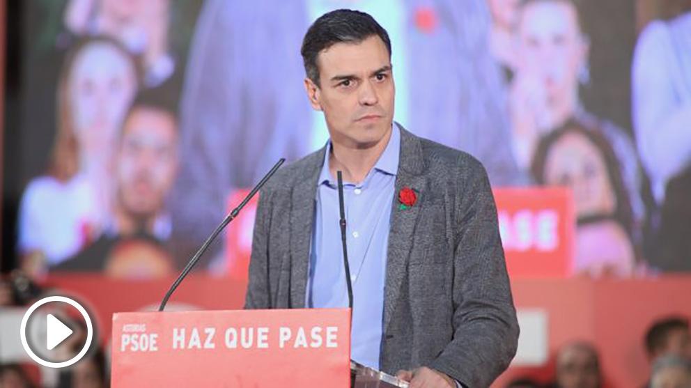 Sánchez, este miércoles, en el mitin de Gijón