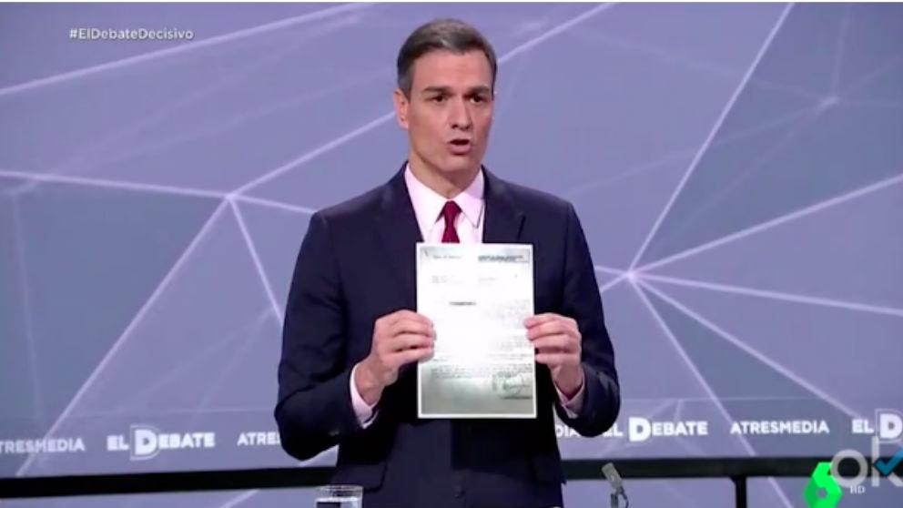 Pedro Sánchez, en el debate de Atresmedia.