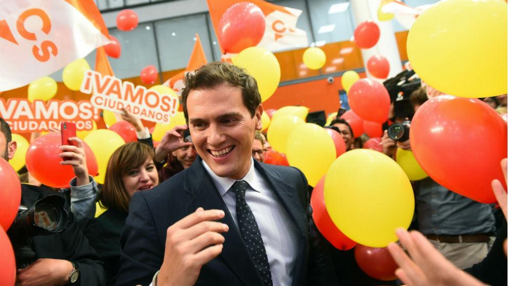 Albert Rivera en la sede de Ciudadanos. (Foto: EFE)