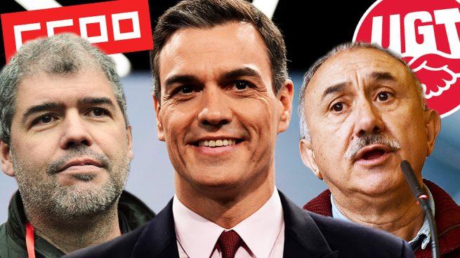 Pedro Sánchez y los líderes sindicales.