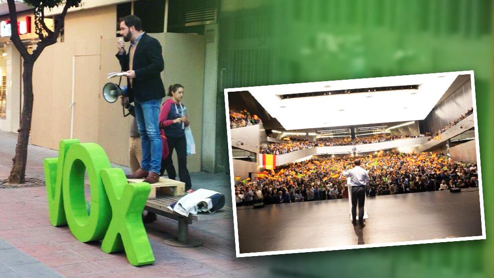 Acto de Vox en Sevilla, en 2015 y en 2019.