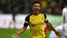 Jadon Sancho celebra un gol con el Borussia Dortmund. (AFP)