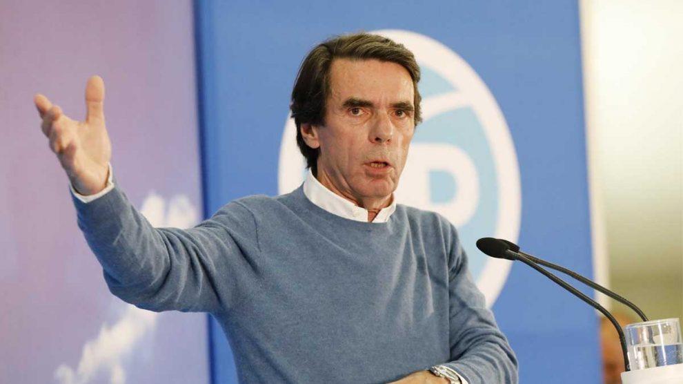 José María Aznar en un acto de campaña. Foto: Europa Press