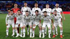 Los jugadores del Real Madrid, antes del partido con el Getafe.