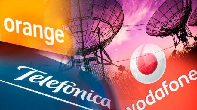 Los grandes operadores de telecomunicaciones. Telefónica, Orange y Vodafone.Los grandes operadores de telecomunicaciones. Telefónica, Orange y Vodafone.