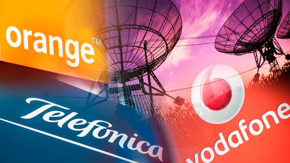 Los grandes operadores de telecomunicaciones. Telefónica, Orange y Vodafone.