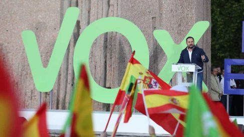 Santiago Abascal en el cierre de campaña de Vox. Foto: Europa Press.