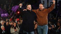 Alberto Garzón y Pablo Iglesias en el cierre de campaña. (Foto. EFE)