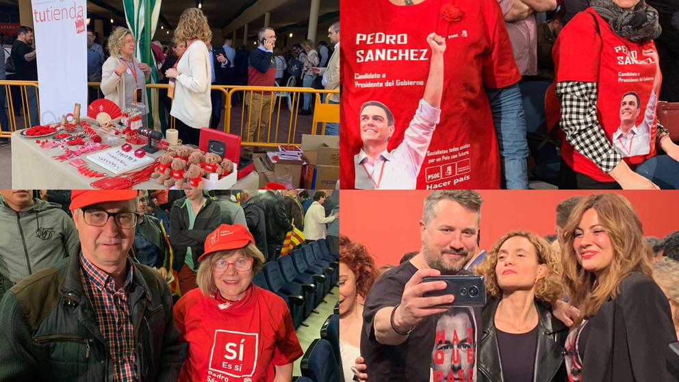 Simpatizantes socialistas con camisetas y gorras en homenaje a Sánchez. Fotos: Joan Guirado