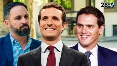 Santiago Abascal, líder de Vox, Pablo Casado, del PP, y Albert Rivera, de Ciudadanos.
