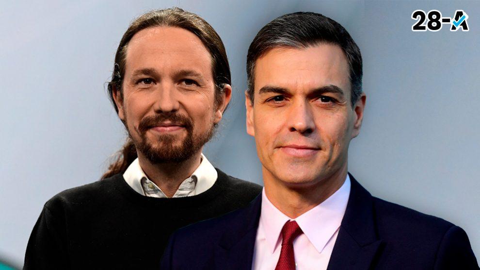 Pablo Iglesias, de Podemos, y Pedro Sánchez, candidato del PSOE.