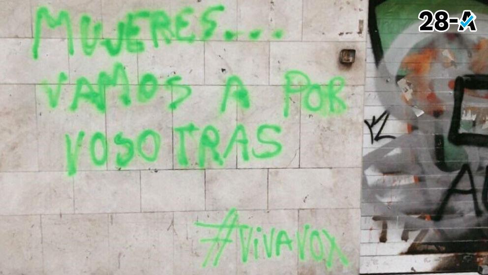 Pintada en la sede de la CUP. Foto: Europa Press