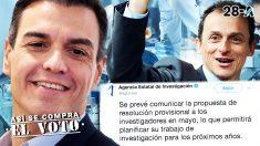 Pedro Sánchez, Pedro Duque y el mensaje de la Agencia Estatal de Investigación.