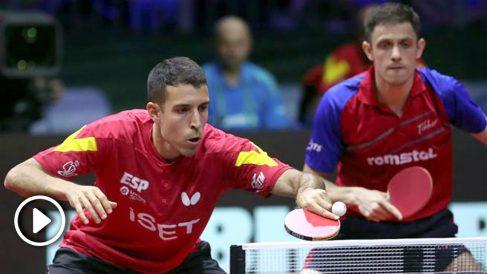 Álvaro Robles, en un momento de la semifinal del Mundial de tenis de mesa. (AFP)