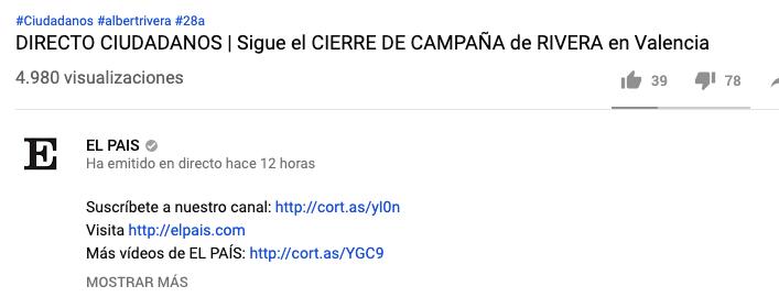 Vox arrasa en 'El País': ¡119.195! personas vieron el cierre de campaña de Abascal frente a los 6.000 de Sánchez