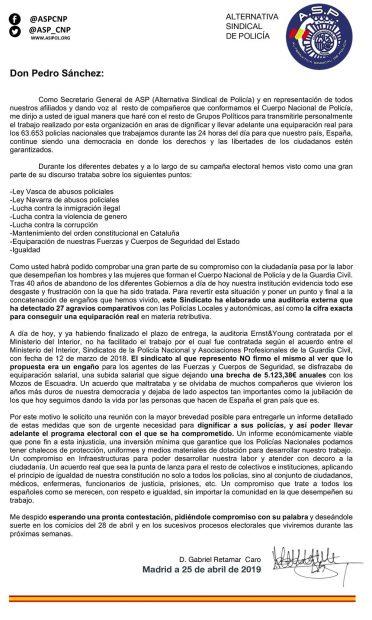 Carta de Policía y Guardia Civil a Pedro Sánchez
