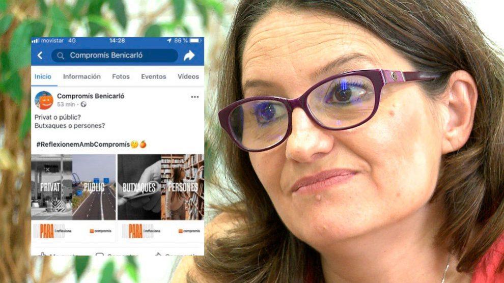 Monica Oltra y uno de los mensajes publicados en las redes sociales de Compromís.