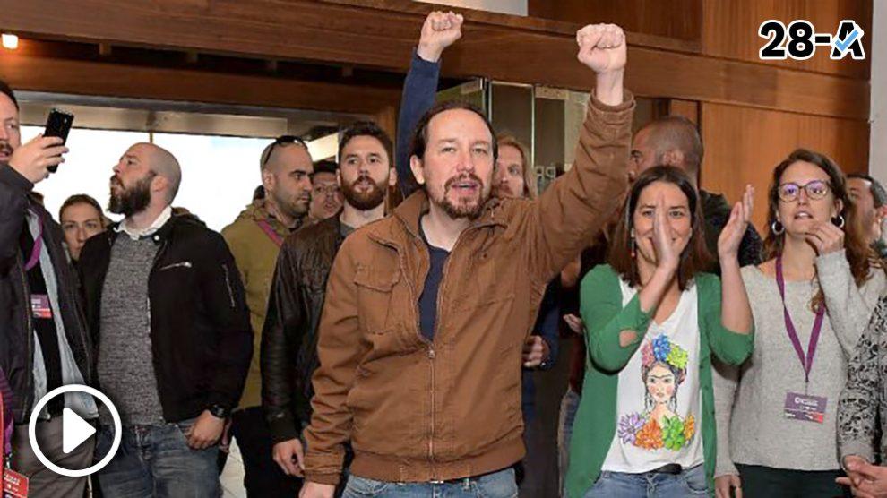 El secretario general de Podemos, Pablo Iglesias, y otros miembros de la formación morada.