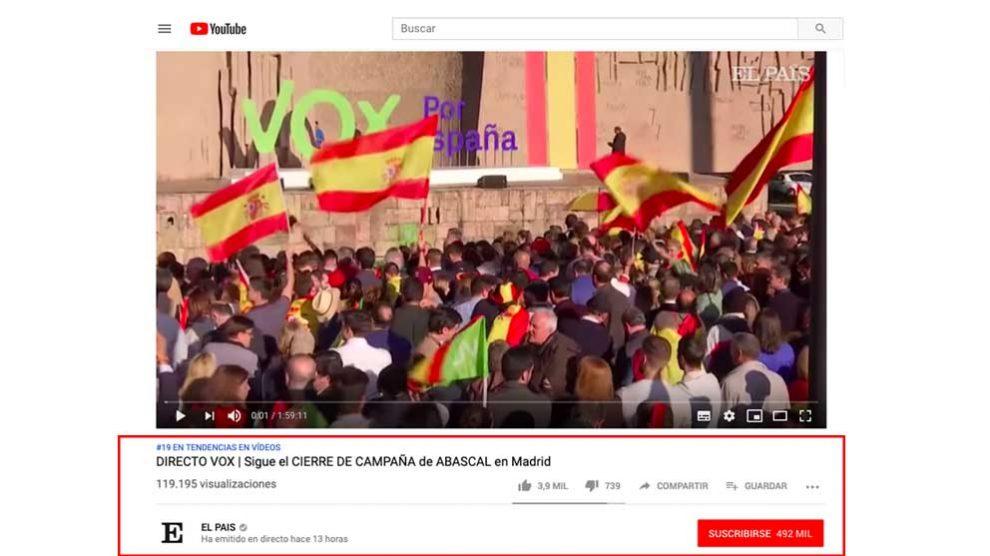 Cierre de campaña de Vox en El País.