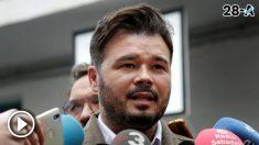 Gabriel Rufián hace declaraciones tras ejercer su derecho al voto