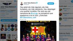 El mensaje de Tebas felicitando al Barça en catalán.