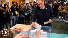 El Presidente de la Generalitat de Cataluña, Quim Torra, depositando su voto para las Elecciones Generales 2019. Foto: Europa Press