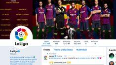 La cuenta de la Liga festejó por todo lo alto el triunfo del Barcelona.