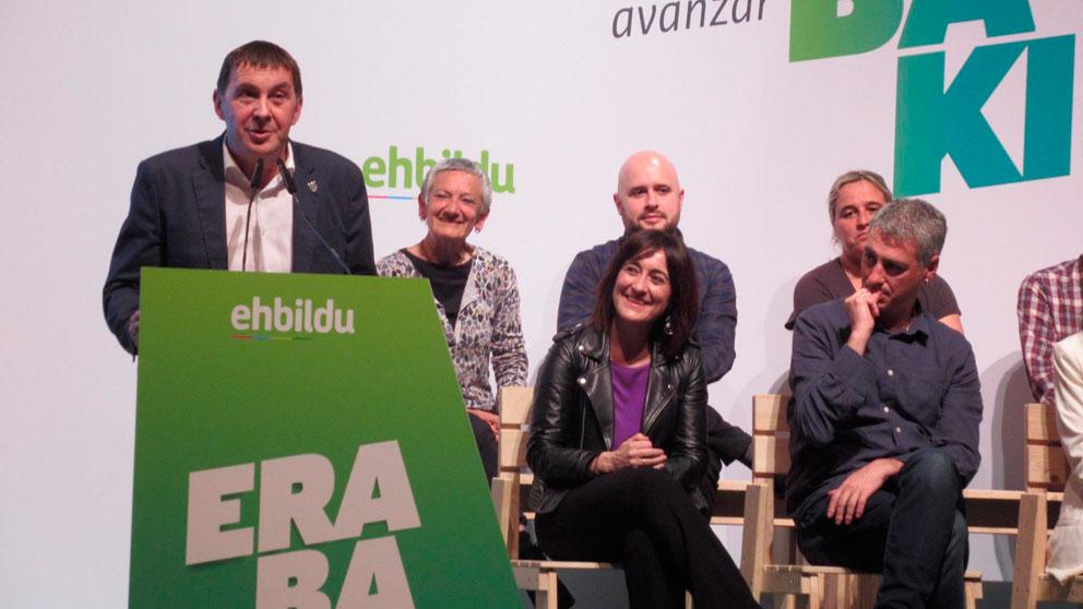 Arnaldo Otegi, dirigente de EH Bildu, en rueda de prensa tras las elecciones generales 2019 del 28-A. Foto: Europa Press