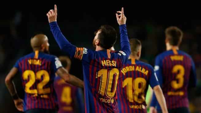 El Barcelona celebra un gol de Messi