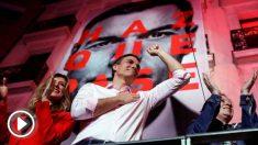 El candidato a la presidencia del Gobierno por el PSOE, Pedro Sánchez, durante su valoración de los resultados electorales en la sede socialista en la Calle Ferraz de Madrid