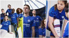 Eden Hazard, entre los modelos del Chelsea para la presentación de su nueva equipación. (Footy Headlines)