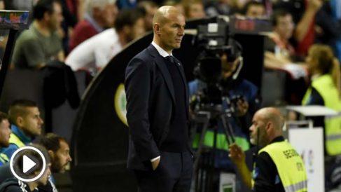 Zinedine Zidane, durante el encuentro en Vallecas ante el Rayo Vallecano. (Getty)