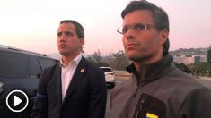 Juan Guaidó y Leopoldo López en la base militar La Carlota, a las afueras de Caracas, tras iniciar la llamada 'Operación Libertad'.