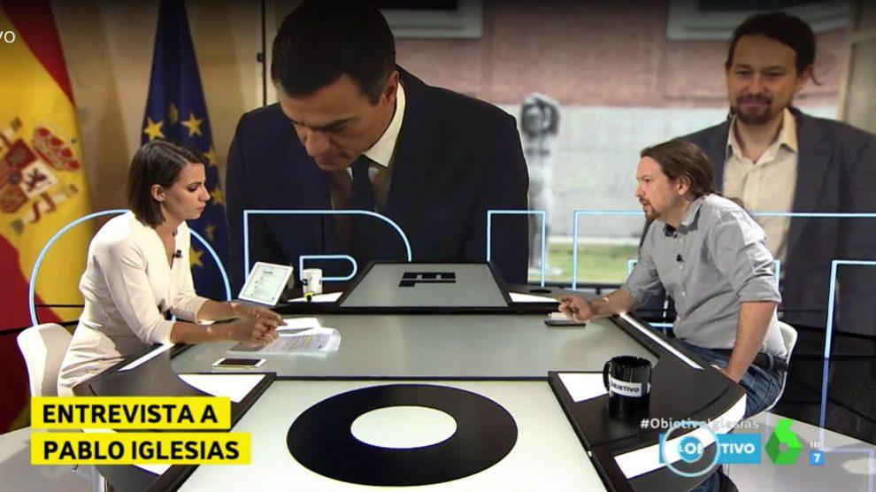Pablo Iglesias ante la periodista Ana Pastor, en el programa El Objetivo de La Sexta.