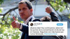 Juan Guaidó, el presidente encargado de Venezuela, llama a la movilización de los ciudadanos este primero de mayo con la 'Operación Libertad'. Foto: AFP
