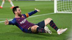 Lionel Messi celebra su gol al Liverpool. (Getty)