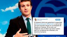 El líder del PP, Pablo Casado, junto al tuit sobre el opositor venezolano Leopoldo López. Foto: EFE