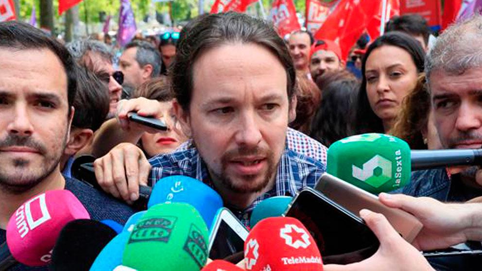 Pablo Iglesias, líder de Podemos, en la manifestación del Día del Trabajador.