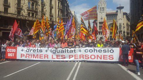 La manifestación con motivo del Primero e Mayo, convocada por los sindicatos CCOO y UGT, en Barcelona. Foto: Twitter