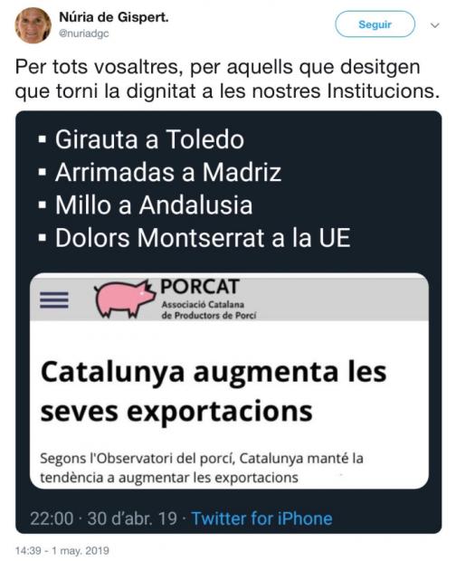 Tuit de Nuria de Gispert llamando cerdos a diversos políticos.